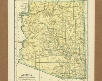 Vintage map of Arizonafrom 1943 Antique 1940s