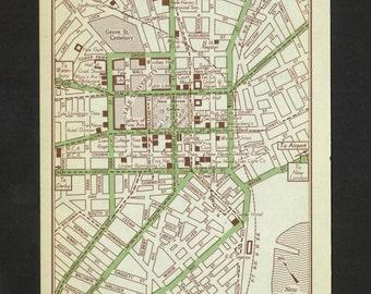 Vintage Map New Haven Connecticut Original 1951