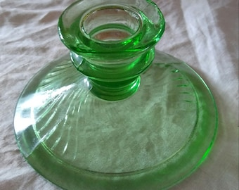 Imperial Glass Twisted Optic Green Candlestick Holder 1920s