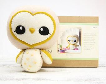 BARN OWL DIY Doll Kit // Wool Felt Doll Kit // Noialand Doll Kit // diy felt doll