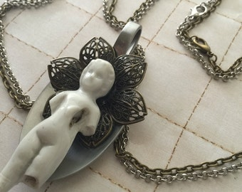 The Loving Spoonfull A Frozen Charlotte Art Necklace Multistrand 2 toned Mixed Metal Art Doll Pendant Doll Jewelry Victorian Art Necklace