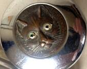 Vintage set of dressing table pots Chrome lids with cat head decoration Glass pots Round glass pot Oblong pots Metal cat face decal