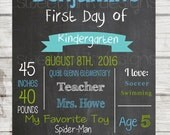 Chalkboard First Day of School Printable- Blue and Green
