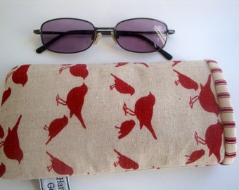 Cotton linen  Glasses case  - handmade - unique- women- girls - gift - eyeglasses case - birds glasses case