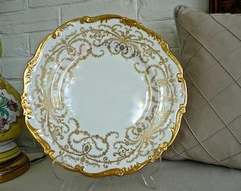 Vintage Plate - Anniversary Pattern - Coalport - Large Serving Plate - Gilded Plate - Ornate Cake Plate - Scalloped Edges - Floral Design