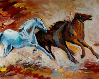 LARGE Oil Painting  Original Art Modern Impressionist Abstract Animal HORSES