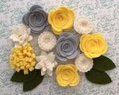 Handmade Wool Felt Flowers, Grey, Yellow and White