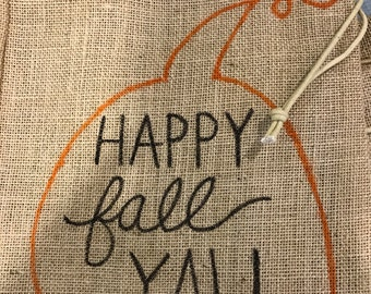 Fall Y'All painted burlap sack