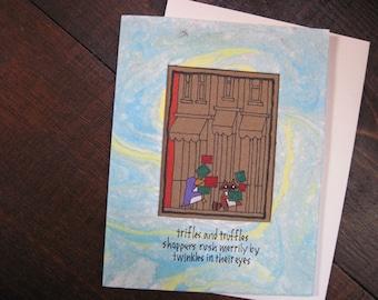 Trifles and Truffles-- ORIGINAL hand-drawn holiday card, blank inside, haiku, suminagashi (#HLDY002)