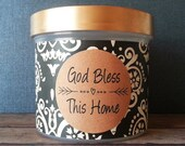 """Scripture Jar with choice of Bible Verses for daily reading, memorizing, family conversation, encouragement, Christian Faith, """"Black Damask"""""""