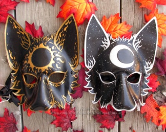 Wolf Mask Set, Mystic Sun and Moon,  Leather wolf, Animal mask, Couples mask, Theater, Mardi Gras,  Halloween, Fox, Cosplay, Fantasy