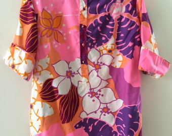 Catherine Ogust Penthouse Gallery Burma Shirt Forever Dress Pink Floral 100% Cotton Vintage Top