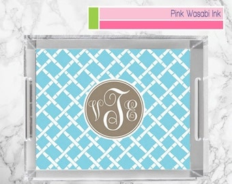 Monogrammed Lucite Tray Personalized Acrylic Tray Custom Tray Bamboo Vanity Tray Choose Colors