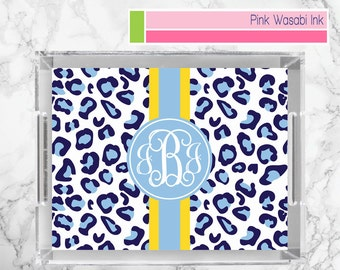 Leopard Tray Monogrammed Lucite Tray Personalized Acrylic Tray Custom Lucite Serving Tray Acrylic Tray Choose Colors