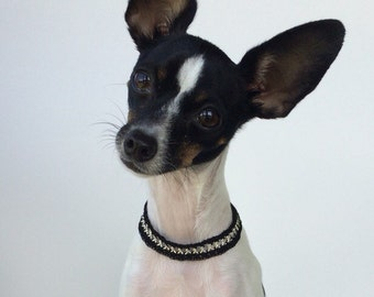 Chain Dog Collar, Jewelry Dog Collar, Silver and Black
