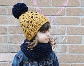 tuque pour enfant SUR MESURE avec pompon géant / CUSTOM baby knited hat with giant pompon