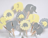 12 Elephant Cupcake Toppers / Elephant Baby Shower / Yellow & Grey Elephant Cupcake Toppers / Elephant Party Invitation / Elephant Party
