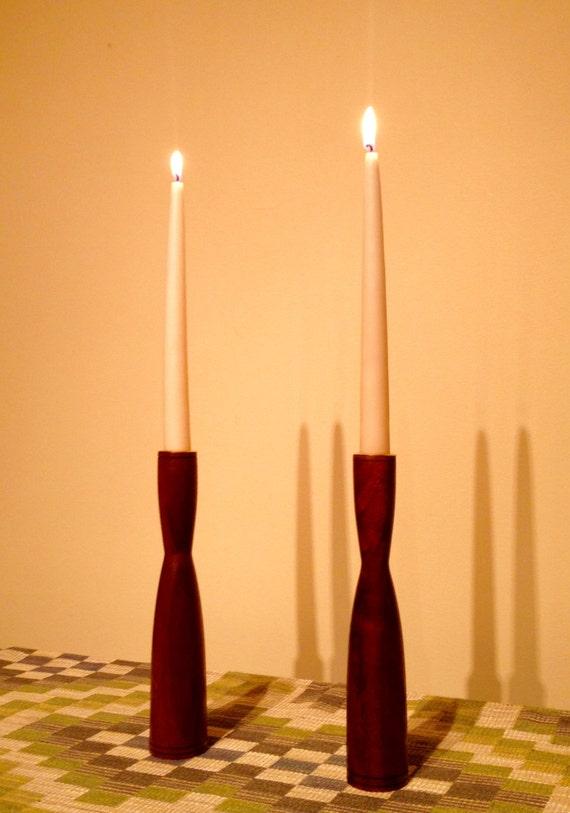 Wood Candle Holder Set / Black Walnut Candle Holder / Wood Candlestick Set
