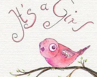 Postcard girl newborn baby bird pink birth announcement