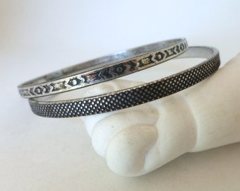 Vintage 1970's Engraved/Stamped Tribal Geometric Print and Beaded Texture Silver Bangle Set (2)