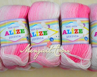 ALiZE SEKERiM BATiK - Baby Yarns - Soft Baby Yarns - Turkish Yarns - Acrylic Yarns - Pack of 5 Skeins
