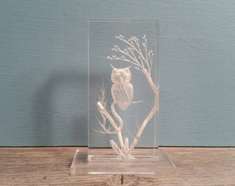 Lucite Owl Paperweight