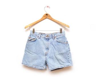 80s Light Wash Levi Strauss Denim Shorts High Waisted Womens 10 Petite