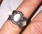 Moonstone Navajo Ring Signed D Cadman Vintage Sterling Silver Art Deco Revival Retro Ring Approx Size 6 Signed by the Artist