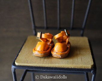 Blythe Doll / Hand made Leather shoes / Sandal / orange