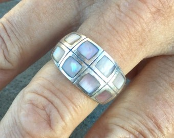 Sterling silver and shell vintage ring, marked Thailand and 925, abalone or mother of pearl, size 9, 1970's era