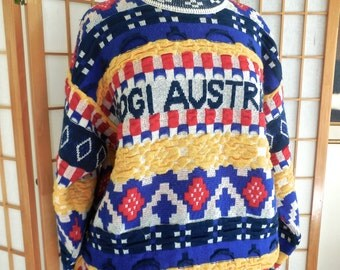 Sale Vintage 80s Coogi Sweater 100% Wool in Bright Primary Colors with Coogi Australia Logo on Front OOAK Rare