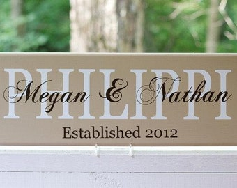 Family Name Sign. Wood Sign with Established Date. Wedding Gifts, Bridal Shower or Anniversary