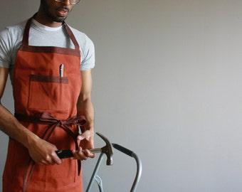Workman's Apron in Rust Orange, Shop apron, Full apron