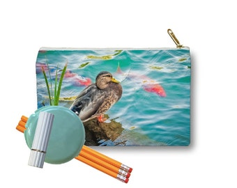 Clutch Bag Zippered Pouch Duck Koi Water Pond