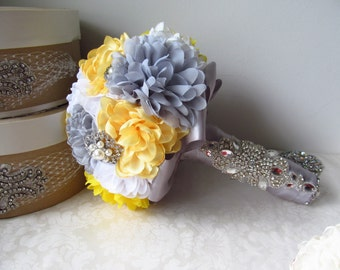Bridal Fabric Brooch Bouquet with Rhinestone Handle /  Brooch Bouquet  /  Yellow, White, and Gray Bouquet