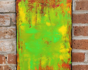 Original Abstract Acrylic Painting on 12 x 24 inch canvas by artist Missy Kaza--Bright, Fun Colors!