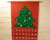 Advent Calendar Felt and Ornaments Vintage Inspired Red and Green Christmas Tree