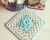 pretty vintage aqua rose crocheted pot holder