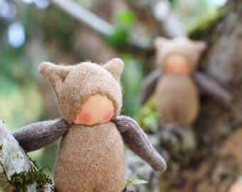 Wool Ginger Bud Waldorf Pocket Doll, Owl