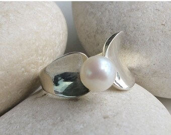 30 Off Sale Freshwater Pearl Ring- Adjustable Pearl Ring- Promise Ring- Bridal Ring- June Birthstone Ring- Anniversary Ring- Engagement Ring