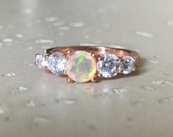 Rose Gold Anniversary Ring- Opal Engagement Ring- Promise Ring for Her- October Birthstone Ring- Five Stone Ring- Rose Gold Ring- Ring