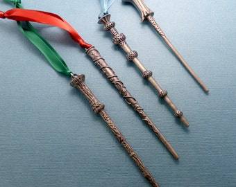 Harry Potter Inspired - Choose One - Harry, Hermione, Dumbledore or Voldemort's Wands - Ornaments -READY TO SHIP
