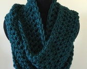 Unisex teal infinity scarf, cowl, double wrap, super soft, crochet, ready to ship
