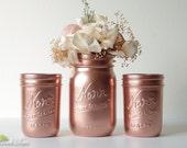 Rose Gold Decor / Copper mason jar / Painted Mason Jars Home Decor Wedding Decor Vase Centerpiece / Editor's Pick