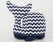 Modern navy blue chevron nursery decor, baby whale pillow