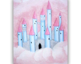 Princess Castle Art, Pink Blue, Baby Girl Nursery, Princess Wall Decor, Children Wall Art, Girls room Decor, Girl Nursery Art, Nursery Decor