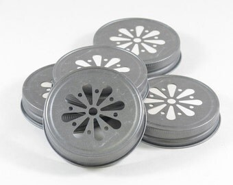 Daisy mason jar lids - Pewter Daisy Cut Mason jar LIDS - 12 count vintage rustic stamped daisy lids - wedding shower decorations candle lids