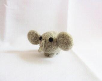 Needle Felted Elephant -  miniature elephant figure - 100% corriedale wool - wool felt elephant - felt elephant
