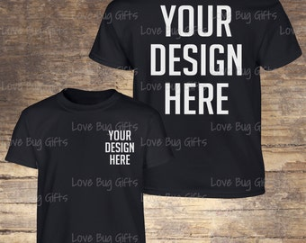 Youth TShirt Mock Up Black - Youth Unisex Short Sleeve Shirt - Add your design - INSTANT Download