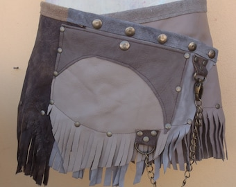 """bohemian gypsy leather fringed belt/skirt.....28"""" to 36"""" hip or waist.."""